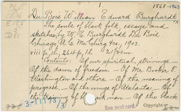 The Library of Congress card for W.E.B. Du Bois' <em>The Souls of Black Folk: Essays and Sketches.</em>