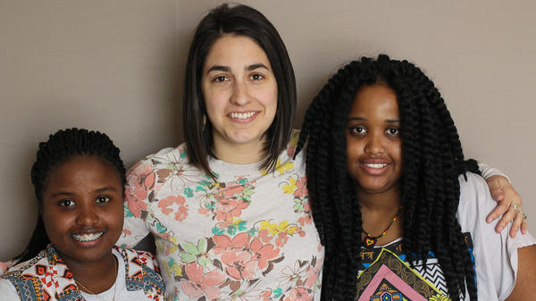 Annie Johnson and her daughters Fatuma Abdullahi, 14, and Maryan Osman, 15. Fatuma and Maryan were refugees from Somalia's civil war, but found a family and new life with the Johnsons.