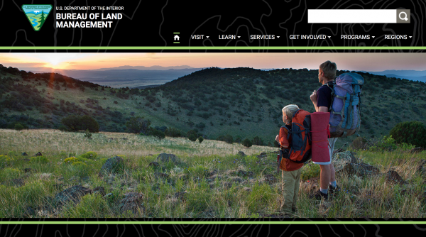"A cached version of <a href=""https://www.blm.gov/"">BLM.gov</a> from March 25 shows the Bureau of Land Management's home page previously featured a photo of a young boy and his companion overlooking a scenic landscape."