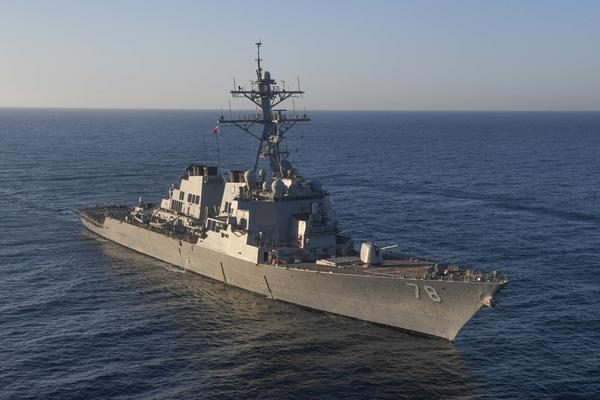The guided-missile destroyer USS Porter transits the Mediterranean Sea on March 9. The more than 50 Tomahawk missile strikes were carried out against Shayrat air base in Homs province from the USS Porter and USS Ross in the Eastern Mediterranean.
