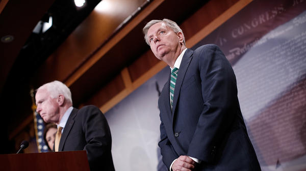 "Sens. John McCain and Lindsey Graham in 2015. ""President Trump confronted a pivotal moment in Syria and took action,"" they said in a statement."