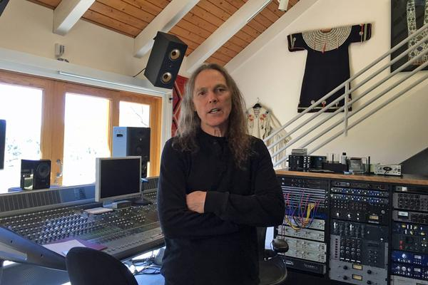 Schmit in his home studio in California. (Robin Young/Here & Now)