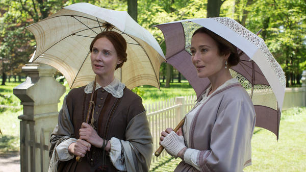 """The parasol is the umbrella's daughter..."": Emily Dickinson (Cythnia Nixon) and sister Vinnie (Jennifer Ehle) in <em>A Quiet Passion</em>."