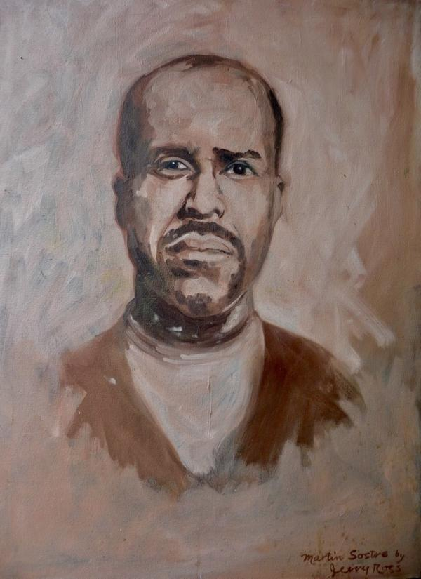 A portrait of Martin Sostre by Jerry Ross, a leader of the campus anti-Vietnam War group at University of Buffalo, who frequented Sostre's bookstore.
