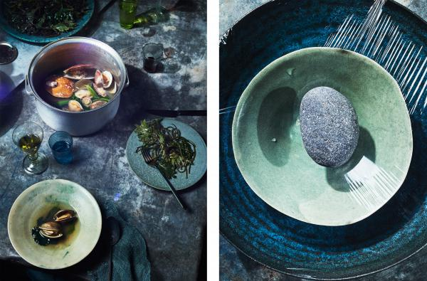 <em>Left: </em>Mollusks in broth with mustard greens. Mustard greens are hardy plants that could withstand climate fluctuations. <em>Right: </em>A DIY method for desalinating ocean water for cooking and drinking.