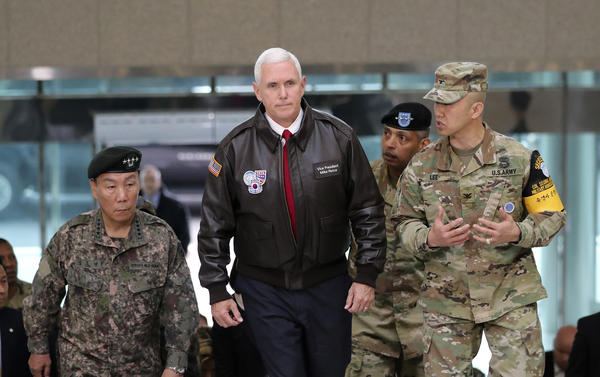 Vice President Pence arrived Monday at the South Korean border village of Panmunjom in the Demilitarized Zone, which has separated the two Koreas since the Korean War.