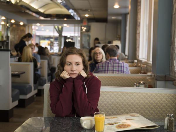 Lena Dunham in the series finale of <em></em><em>Girls</em>.