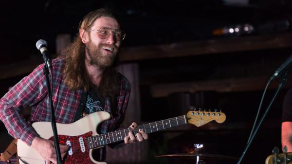 Water Witches guitarist Ethan Bartman at Little Fish Brewery in Athens, Ohio