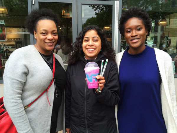Letitia Winston (left), Lori Aquino, and Moriam Animashaun visited a Starbucks in Washington, D.C., to try the new Unicorn Frappuccino.