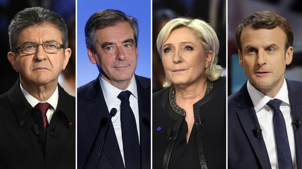 French Presidential candidates: Jean-Luc Melenchon (left), Francois Fillon, Marine Le Pen and Emmanuel Macron.
