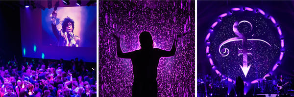 "(Left) Guests dance to Prince songs during a memorial dance party at the First Avenue nightclub in Minneapolis, Minn., on April 21, 2016. (Center) A woman visits the ""Rain Room"" exhibition at the Los Angeles County Museum of Art in Los Angeles on April 22, 2016. (Right) Prince's iconic symbol is displayed before French singer Michel Polnareff's concert in Epernay, France, on April 30, 2016."
