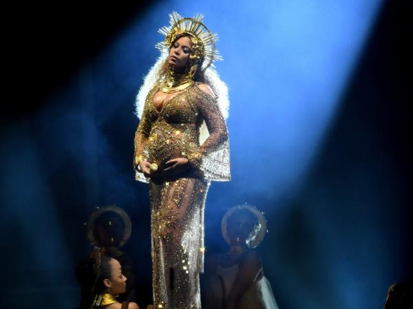 Beyoncé, performing at the Grammy Awards in February.