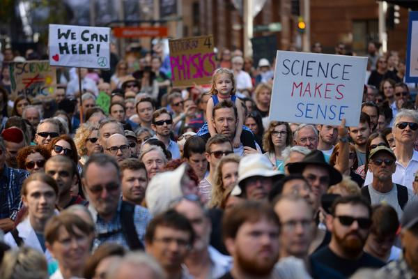 Supporters of science and research gather for the March for Science protest in Sydney. Thousands of people rallied in Australia and New Zealand.