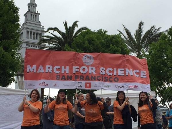 Crowds gather at Justin Herman Plaza near Pier 39 for the March for Science demonstration in San Francisco.