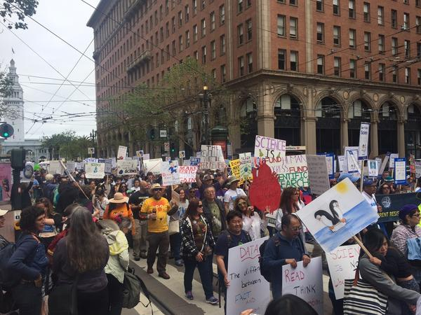 Marchers on Market Street in San Francisco make their way from Justin Herman Plaza to Civic Center plaza.