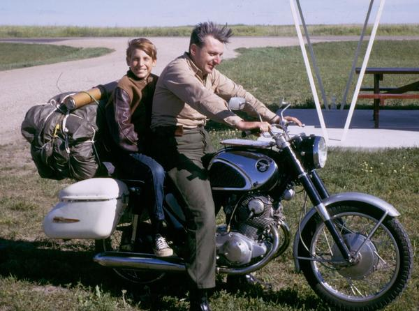 Author Robert Pirsig and his son Chris in 1968. Pirsig, who wrote <em>Zen and the Art of Motorcycle Maintenance</em>, died Monday at age 88.