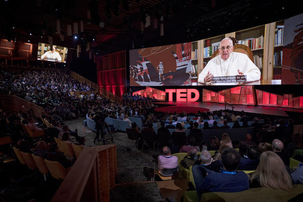 Pope Francis speaks in a video at the TED2017 conference Tuesday in Vancouver, British Columbia. The audience gave him a standing ovation after the talk, which stressed the importance of humility among the powerful.