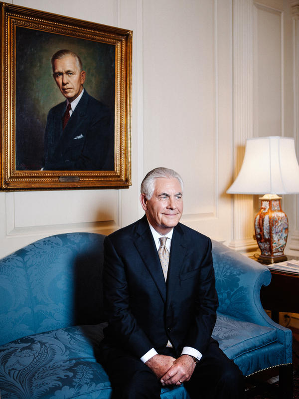 Secretary of State Rex Tillerson in the George C. Marshall room at the State Department on Thursday.