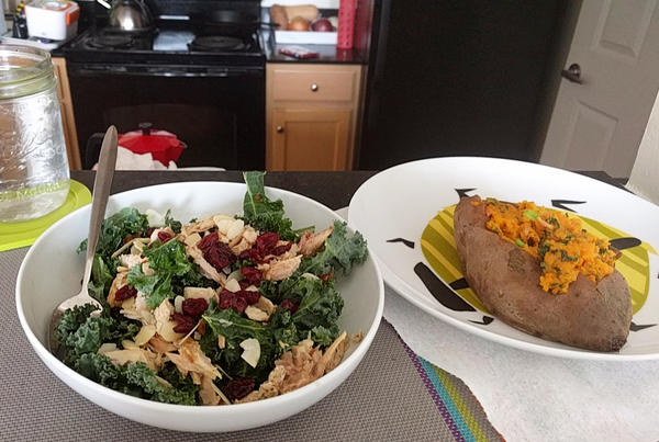 Here's a kale salad and sweet potato that did get their portraits taken in the name of medical research.