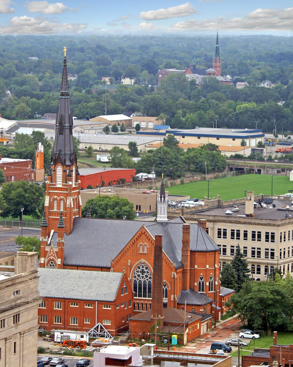 Steeples dominate the skyline of Fort Wayne, Ind. Here's an aerial view of downtown.