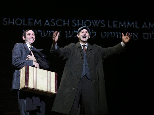 <em>Indecent</em> shows<em> God of Vengeance</em> playwright Sholem Asch (Max Gordon Moore) and stage manager Lemml (Richard Topol) taking their play to America.