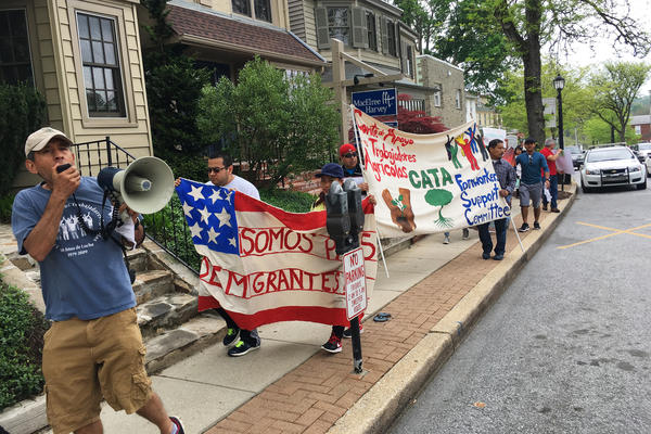 About 40 people marched through the town of Kenneth Square, N.J.