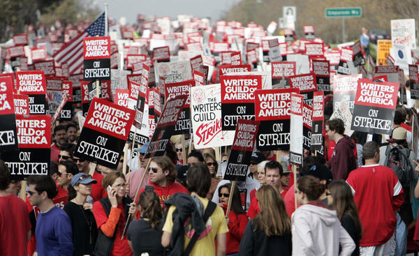 In 2007, the Writers Guild of America went on strike over revenues from Internet and DVD sales. Above, writers and supporters march in Los Angeles on Nov. 9, 2007, the fifth day of the strike.
