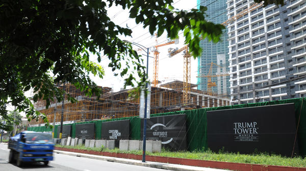 A high-rise building under construction in 2012 in Manila, Philippines bearing Trump's name.