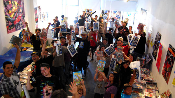 The crowd's got issues: Staff and customers at L.A.'s Golden Apple Comics on Free Comic Book Day in 2014.