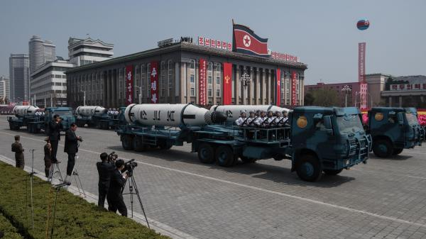 North Korea displays a mobile rocket launcher in a military parade on April 15 in the capital Pyongyang. The U.S. is calling on North Korea to give up its nuclear weapons, something the country says it will never do.