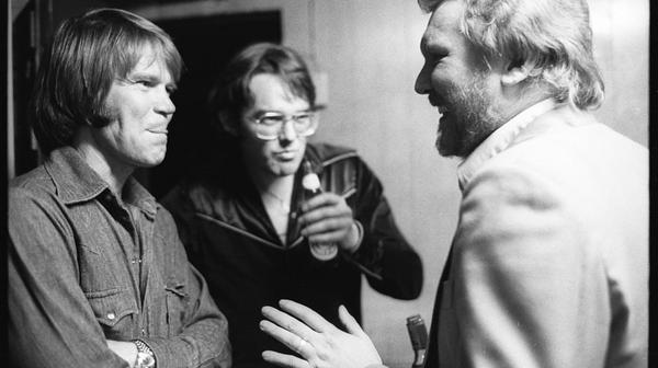 Glen Campbell (left), Jimmy Webb (center) and Harry Nilsson. (Courtesy of Henry Diltz)