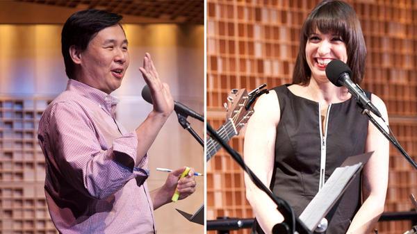 <em>Ask Me Another</em> Supervising Senior Producer Art Chung and Host Ophira Eisenberg.