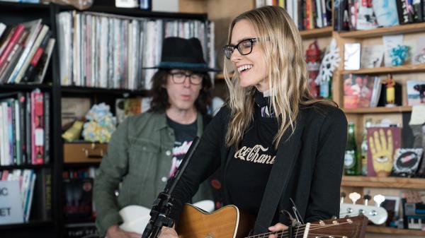 Aimee Mann performs at Tiny Desk Concert on Apr. 20, 2017 (Marian Carrasquero/NPR)