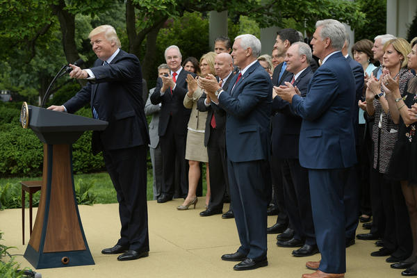 President Trump speaks in the White House Rose Garden following the House passage of the Republican health care bill on Thursday.