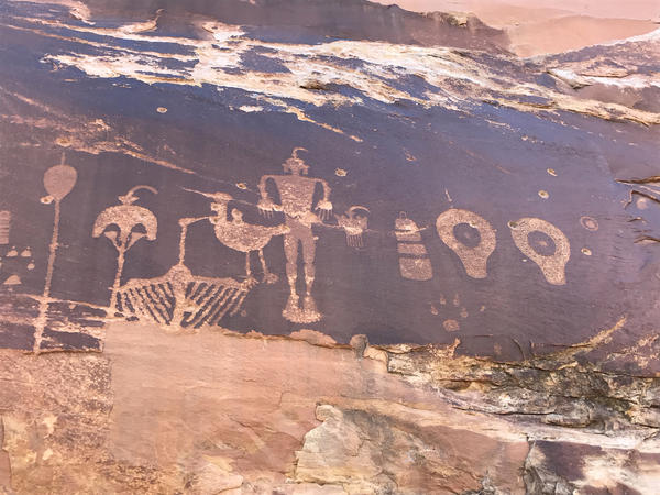 An ancient petroglyph panel is pocked with bullet holes. Some say increased federal protection is needed to prevent further damage and vandalism to areas like this one, which is now included in Bears Ears National Monument.