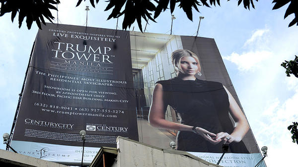 This photo taken on July 14, 2012, shows a Trump Tower poster displayed on a roadside billboard in Manila.