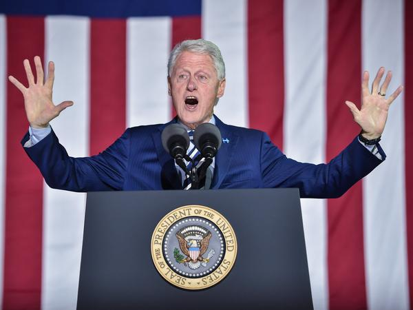 Former President Bill Clinton gestures to the crowd during a campaign stop<strong></strong> in Philadelphia for his wife, Hillary, on the day before the 2016 presidential election.