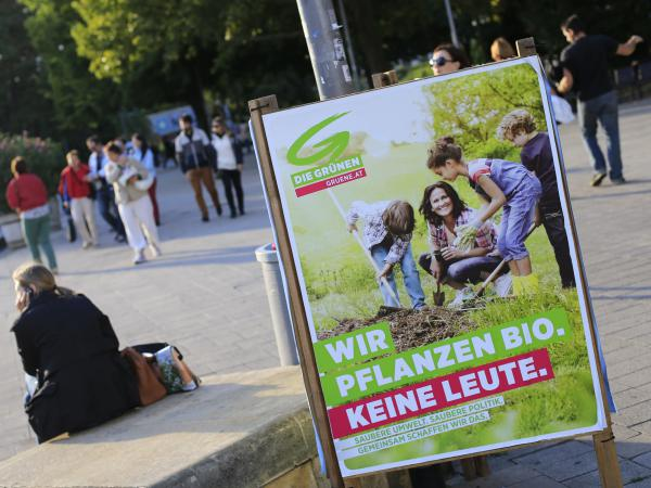 """An Austrian court ruled on Friday that the """"hate postings"""" against an Austrian politician must be deleted from Facebook worldwide. The case concerns posts insulting Eva Glawischnig, the leader of the Austrian Green party. Above, a poster featuring Glawischnig before legislative elections in September 2013."""