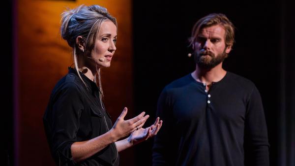 Thordis Elva and Tom Stranger speak at TEDWomen 2016 in San Francisco, California.