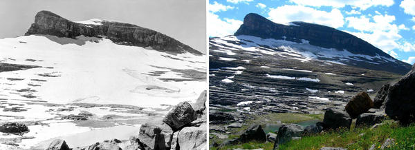 Boulder Glacier in 1932 (left) and in 2005.