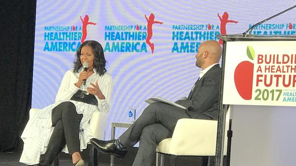 Michelle Obama speaks at the Partnership for a Healthier America conference in Washington, D.C., on Friday.