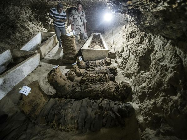 Archaeologists found sarcophagi made of limestone and clay.