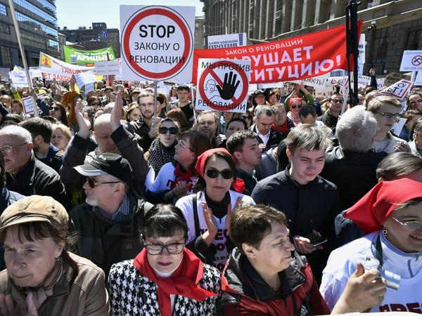 Demonstrators march in Moscow on Sunday against the city's controversial plan to knock down Soviet-era apartment blocks and redevelop the old neighborhoods.