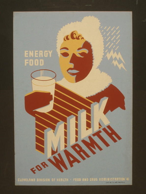 "This 1940s poster from public health agencies promotes drinking cow's milk for ""food"" and ""energy."""