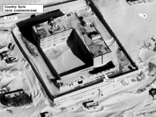 This image — taken via satellite in January 2015 — depicts what the State Department says is the crematorium at Saydnaya prison, including snowmelt on the facility's roof that acting Assistant Secretary of State for Near East Affairs Stuart Jones says is proof of the building's higher temperature.