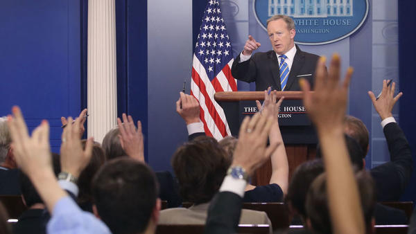 White House Press Secretary Sean Spicer speaks to reporters during the daily press briefing on Monday.