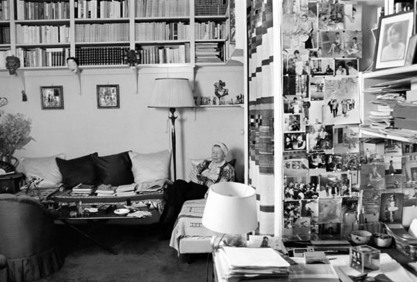 Simone de Beauvoir in her studio, rue Schoelcher 12 bis, Montparnasse, Paris, March 1986.