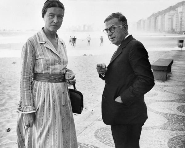 De Beauvoir and Jean-Paul Sartre are shown above at Copacabana Beach, circa 1960.