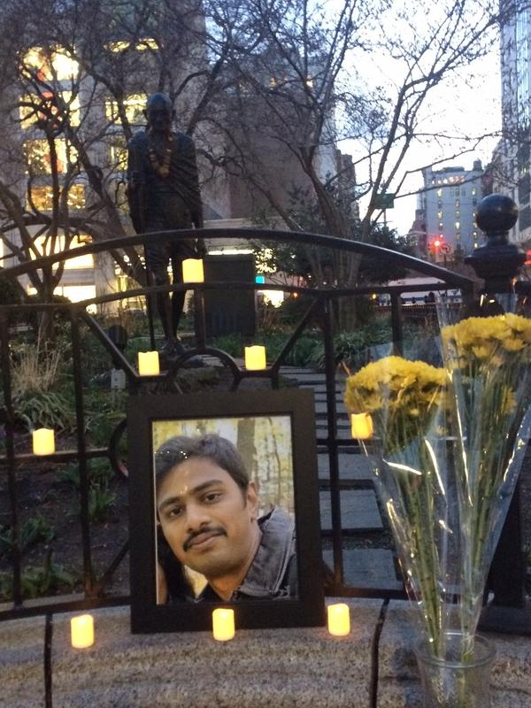 After his death, several candlelight vigils for Srinivas Kuchibhotla were held around the country. This one took place in front of the Gandhi statue in Union Square in New York City.