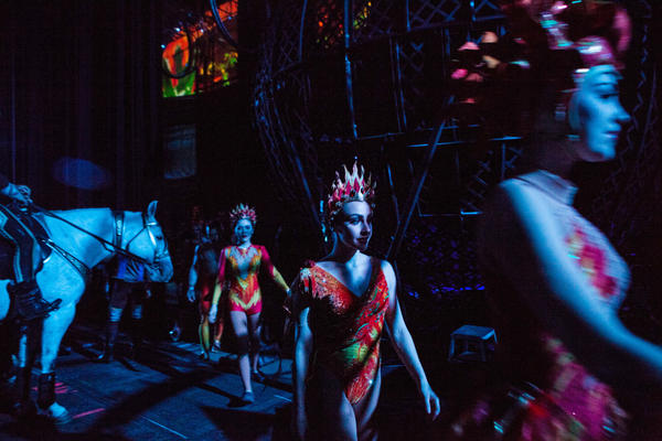 Ringling performers and animals enter the arena in Fairfax, Va.